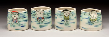 "Beth Lo, Swimmer Cups porcelain, 4"", 2015"